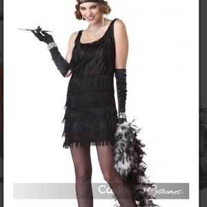 Flapper girl fringed black dress.